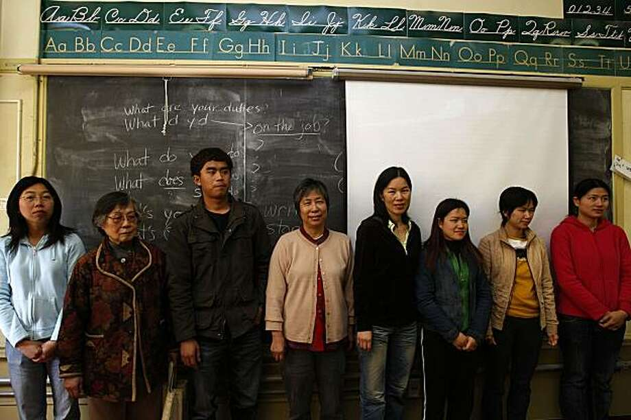 "Students at the City College Chinatown/North Beach campus in San Francisco, Calif., being recruited for portraits on Thursday, April 22, 2010. The portraits taken will be featured in an exhibit called ""The Chinese in America"" at the 2010 Shanghai World Expo which opens in May. Photo: Liz Hafalia, The Chronicle"