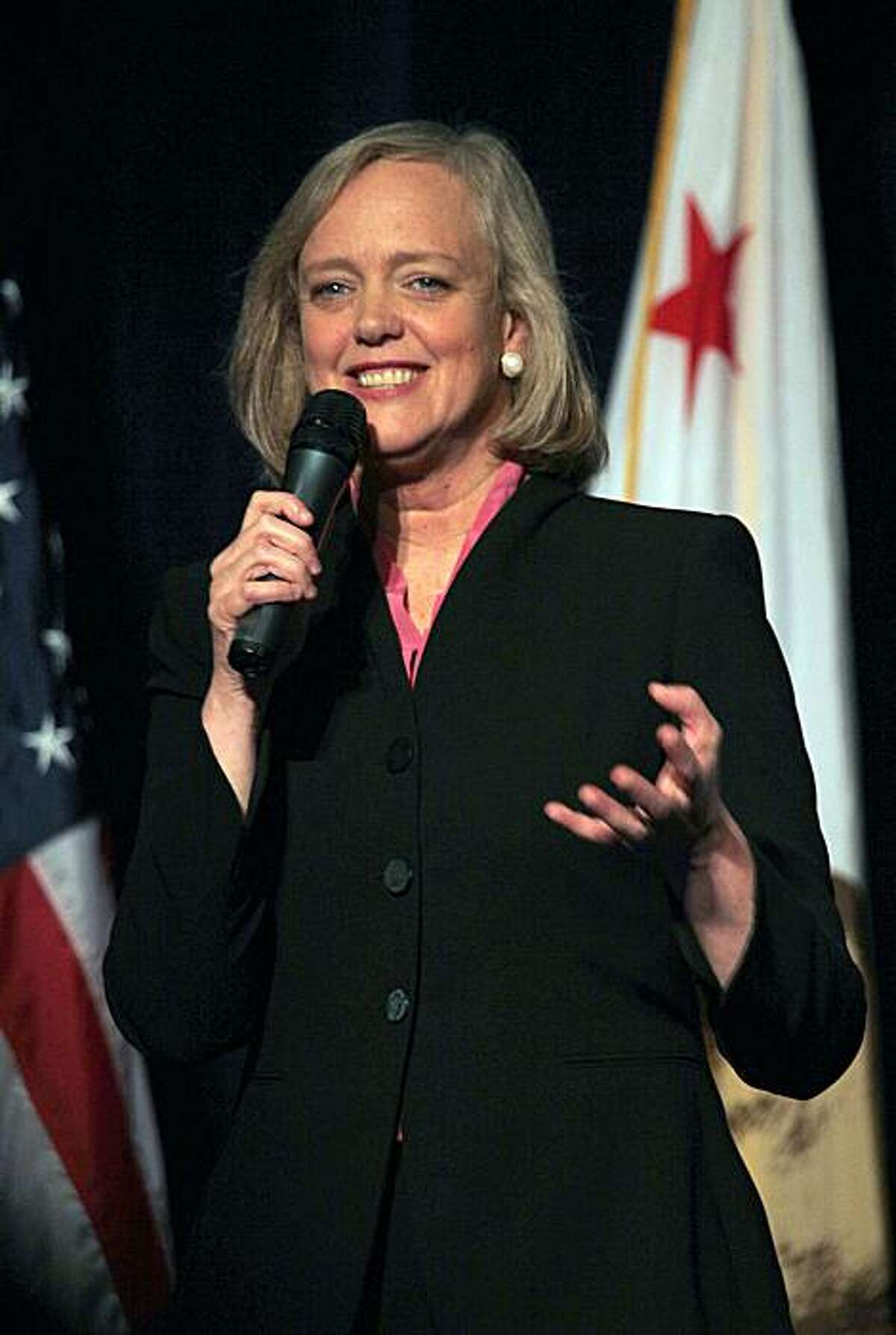 Gubernatorial candidate Meg Whitman speaks at the banquet of the California Republican Party 2010 Spring Convention in the Santa Clara Hyatt Regency and Convention Center in Santa Clara, Ca., on Friday, March 12, 2010.