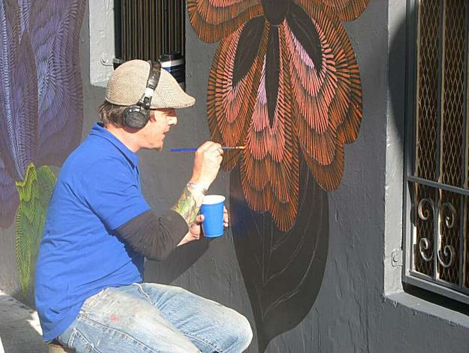 Jet Martinez' wall art is hoped to discourage graffiti. Photo: C.W. Nevius, The Chronicle