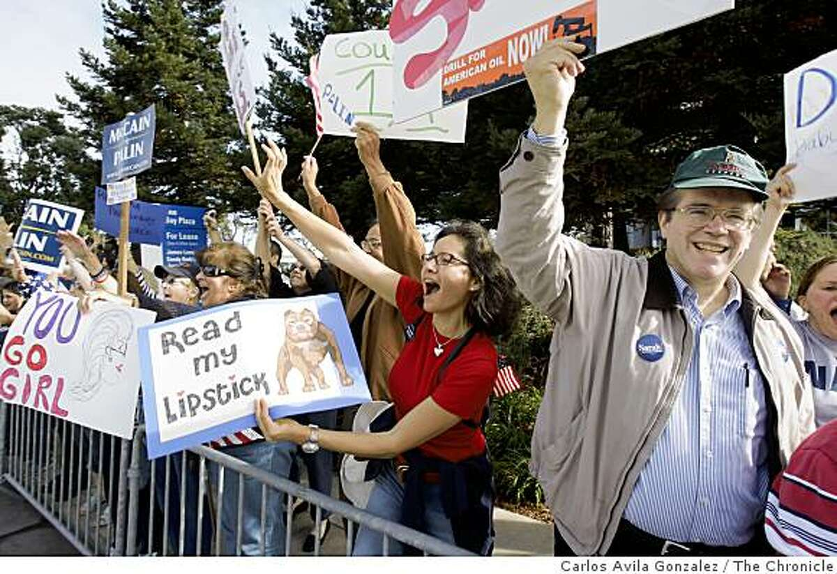 Patrice Willig of Hillsborough, and Karl Anderson, of Hillsborough, cheer for Gov. Sarah Palin who attended a brunch fundraiser at the Hyatt Regency in Burlingame, Calif., on Sunday, October 5, 2008.