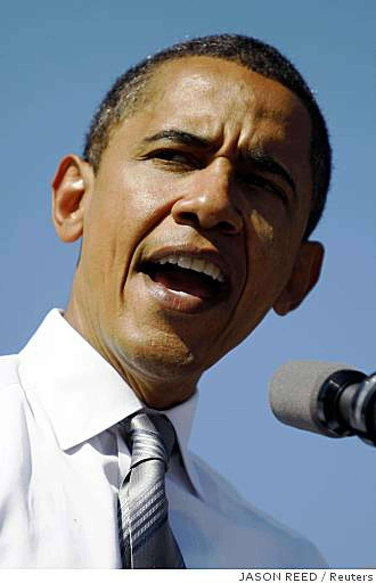 U.S. Democratic presidential nominee Senator Barack Obama (D-IL) speaks during a campaign rally in Asheville, North Carolina, October 5, 2008.