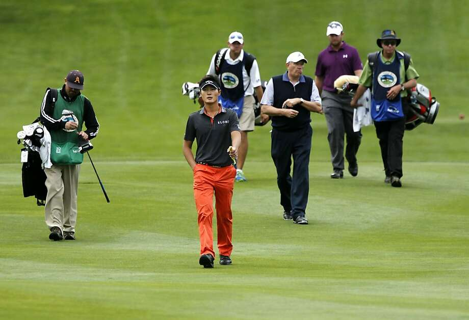 Danny Lee leads his group up the 10th fairway at Spyglass Hill, during second round action at the 2012 AT&T Pebble Beach National Pro-Am Golf Tournament, in Pebble Beach, Ca. on Friday Feb. 10, 2012. Photo: Michael Macor, SFC