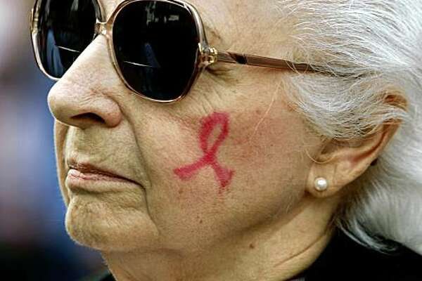 Vivian Schneider of Livermore had a pink ribbon on her cheek when she took part in the 11th annual Walk for Hope to Cure Breast Cancer event in San Francisco, Calif., on Saturday, Oct. 4, 2008.
