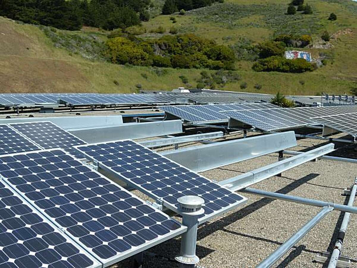 Some of the 108 solar panels stolen from Oceana High School in Pacifica.