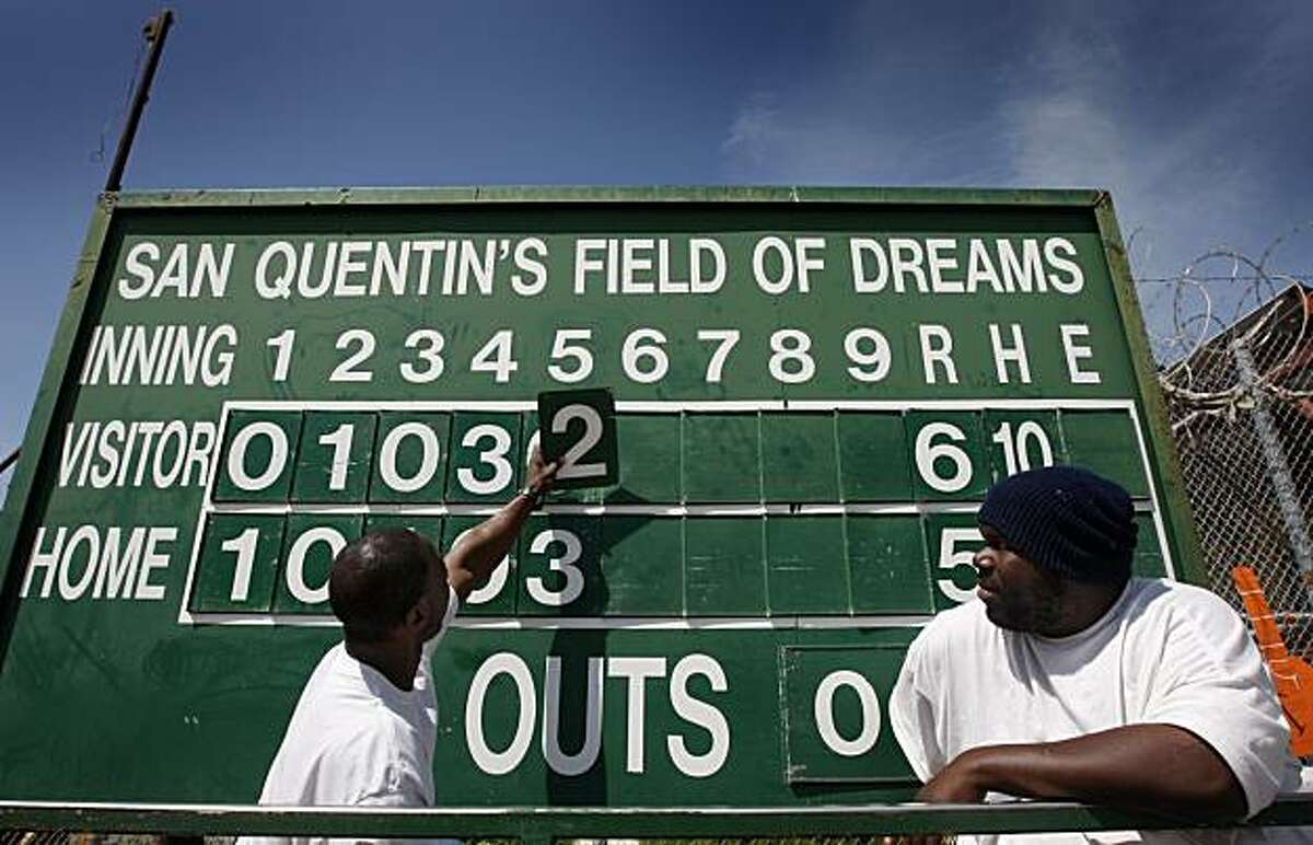 Inmates Dwight Kennedy (left) and Marcus Dishmon update the scoreboard during the Opening Day of baseball season for the San Quentin Giants in San Quentin on Saturday.