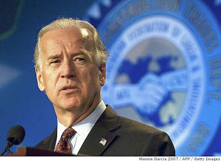 (FILES): This March 28, 2007 file photo show US Democratic Senator from Delaware Joe Biden speaking at the Building and Construction Trade Department, AFL-CIO conference in Washington, DC.  Touted as a running mate for Democratic White House contender Barack Obama, Biden, Chairman of the Senate foreign relations committee, ran briefly in this year's race for the Democratic nomination and has vast experience in the national-security debate.  That experience may be what Obama needs in his White House battle with veteran Republican John McCain, but Biden is also something of a loose cannon: he is known for a long-winded speaking style and the occasional gaffe.  Biden, 65, has commuted to Washington daily by train from his state of Delaware, following the death of his first wife and infant daughter in a car crash just before Christmas 1972.        AFP PHOTO / Files / MANNIE GARCIA (Photo credit should read MANNIE GARCIA/AFP/Getty Images) Photo: Mannie Garcia 2007, AFP / Getty Images