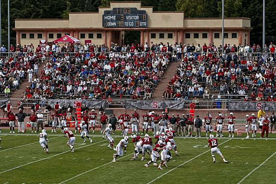 Cardinal team quarterback Andrew Luck back to pass as Stanford University holds their annual spring scrimmage game at Kezar Stadium in San Francisco, Calif. on Saturday Apr. 17, 2010. Photo: Michael Macor, The Chronicle