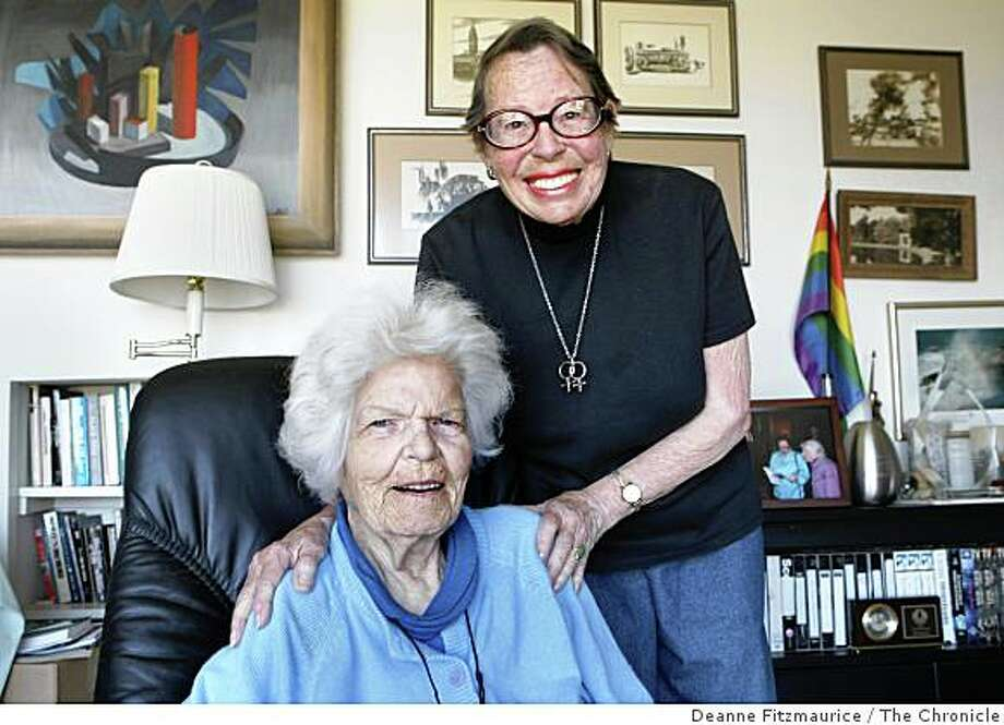 Phyllis Lyon, top, and Del Martin, in their home in San Francisco, Calif. on June 12, 2008, will be the first couple to be married on Monday as same-sex couples are granted the right to marry.  Photo by Deanne Fitzmaurice / The Chronicle Photo: Deanne Fitzmaurice, The Chronicle