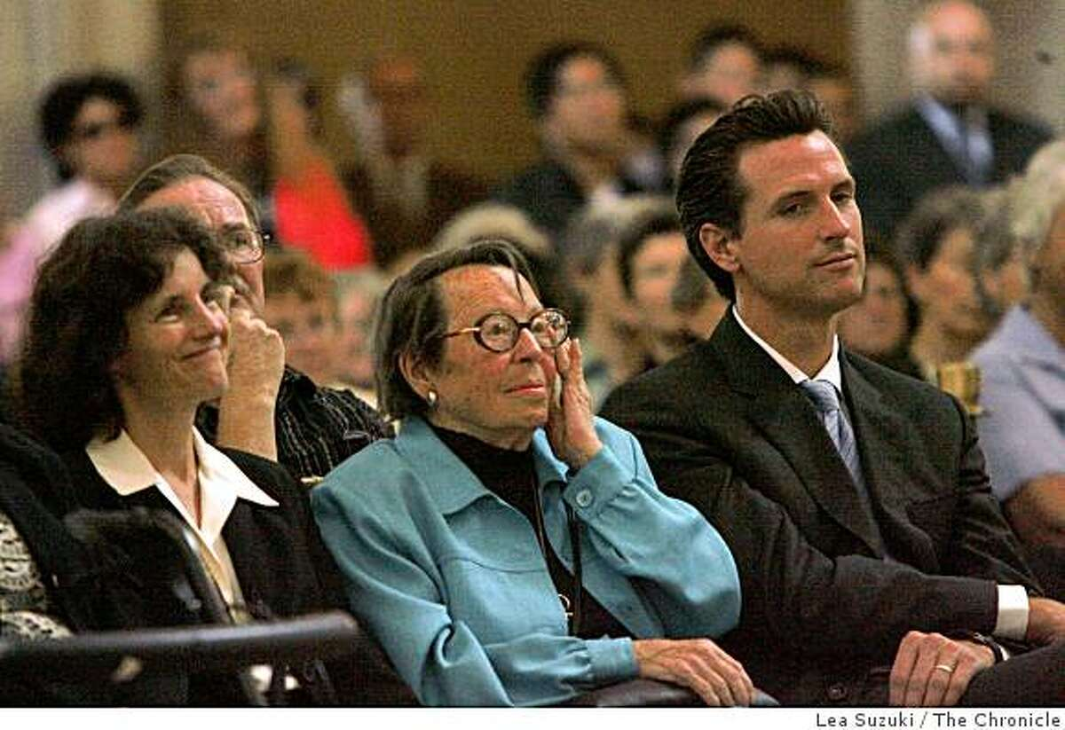 Phyllis Lyon (center) listens to speakers during a public memorial service for lesbian rights pioneer Del Martin, who died last month. It was held at San Francisco City Hall on Wednesday, October 1, 2008 in San Francisco, Calif.
