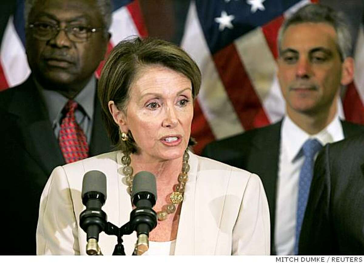 U.S. Speaker of the House Nancy Pelosi (D-CA) addresses a news conference flanked by House Majority Whip James Clyburn (D-SC) (L) and Democratic Caucus Chairman Rahm Emanuel (D-IL) (R) after the Emergency Economic Stabilization Act failed to pass during a vote on Capitol Hill in Washington, September 29, 2008. REUTERS/Mitch Dumke (UNITED STATES)