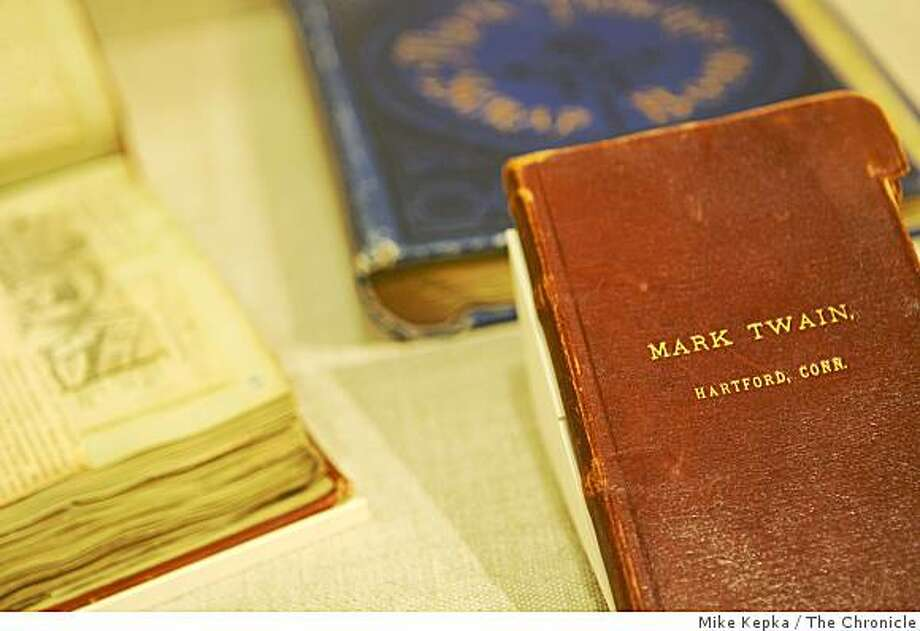 "An example of Mark Twain's notebooks are on display at the ""Mark Twain at Play"" exhibit at U.C. Berkeley's new Bancroft Library on Wednesday Oct. 01, 2008 in San Francisco Calf. The exhibit, which doesn't officially open till December, will be open for a one day sneak preview this Friday. Photo: Mike Kepka, The Chronicle"
