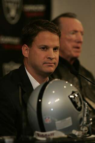 Raiders introduce new head coach Lane Kiffin on January 24, 2007. Photo: Liz Hafalia, The Chronicle