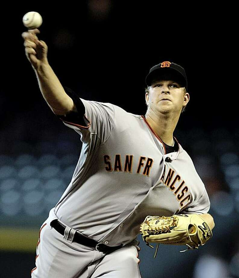 San Francisco Giants starting pitcher Matt Cain throws in the first inning against the Houston Astros in a baseball game in Houston on Wednesday, April 7, 2010. Photo: Bob Levey, AP