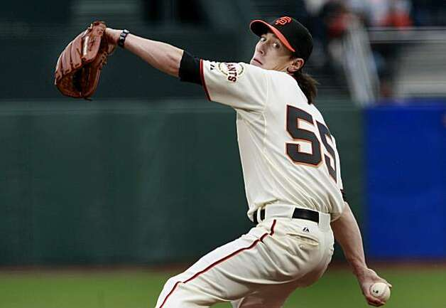 The Giants Tim Lincecum had seven strikeouts through the first five innings. After a four hour rain delay the Giants and Atlanta Braves finally began their game at AT&T Park after 5 pm. Photo: Brant Ward, The Chronicle
