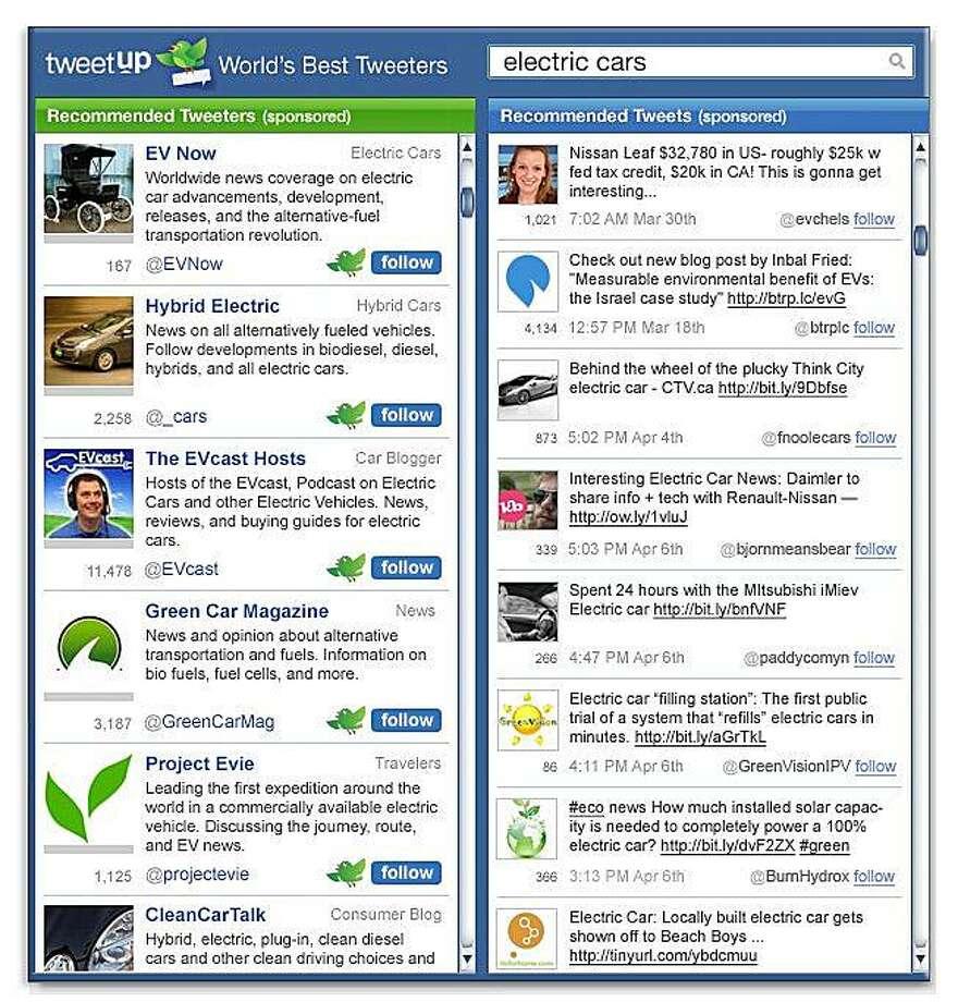 screenshot from the new web site Tweetup Inc. Photo: Courtesy, Tweetup Inc.