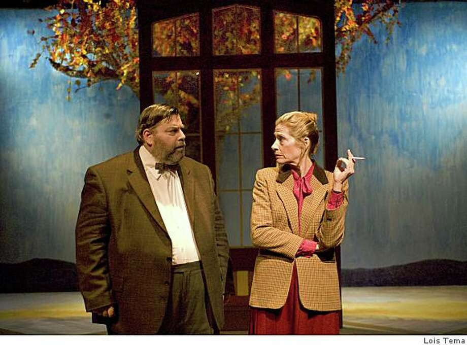 "Richard Ryan (left) as besieged literature teacher Hector confides in Michaela Greeley as history teacher Dorothy Lintott in Alan Bennett's ""The History Boys"" at New Conservatory Theatre Photo: Lois Tema"