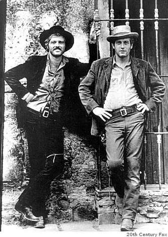 "Actors Paul Newman (R) and Robert Redford are shown in a scene from their 1969 film ""Butch Cassidy and the Sundance Kid"" in this undated publicity photograph. Legendary film star Newman, whose brilliant blue eyes, good looks and talent made him one of Hollywood's top actors over six decades, has died, a spokesman said on September 27, 2008. He was 83 and had been battling cancer. Photo: 20th Century Fox"