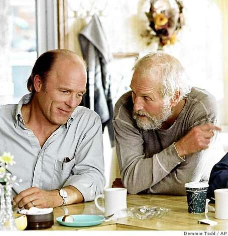 "In this undated publicity photo released by HBO, actors Ed Harris, left, and Paul Newman appear in a scene from the HBO film ""Empire Falls."" The two-part movie, based on the Pulitzer Prize-winning novel by Richard Russo, premieres on HBO at 9 p.m., EDT, Saturday and Sunday, May 28 and 29. Photo: Demmie Todd, AP"