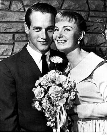 Newlyweds Joanne Woodward and Paul Newman pose after their wedding ceremony in Las Vegas in 1958. Photo: AP