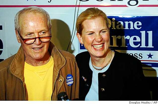 Actor Paul Newman campaigns on behalf of Diane Farrell, a 4th Congressional District candidate, Monday, Nov. 1, 2004, at Farrell's campaign headquarters in Norwalk, Conn. Farrell is running against incumbent Republican U.S. Rep. Christopher Shays. Photo: Douglas Healey, AP