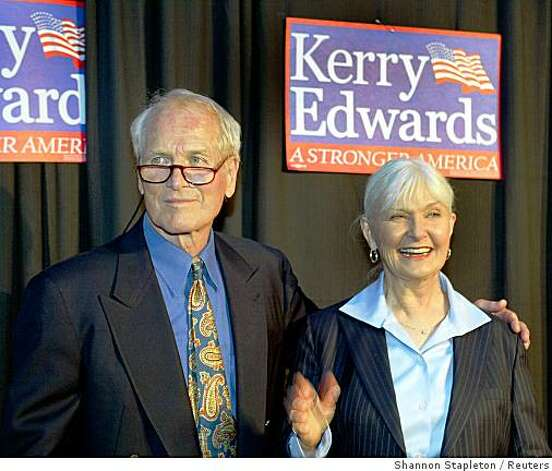 "Paul Newman and his wife Joanne Woodward pose for photographers outside the ""Kerry Edwards Victory 2004 New York Concert"" at Radio City Music Hall in New York in this July 8, 2004 file photograph. Legendary film star Newman, whose brilliant blue eyes, good looks and talent made him one of Hollywood's top actors over six decades, has died, a spokesman said on September 27, 2008. He was 83 and had been battling cancer. Photo: Shannon Stapleton, Reuters"