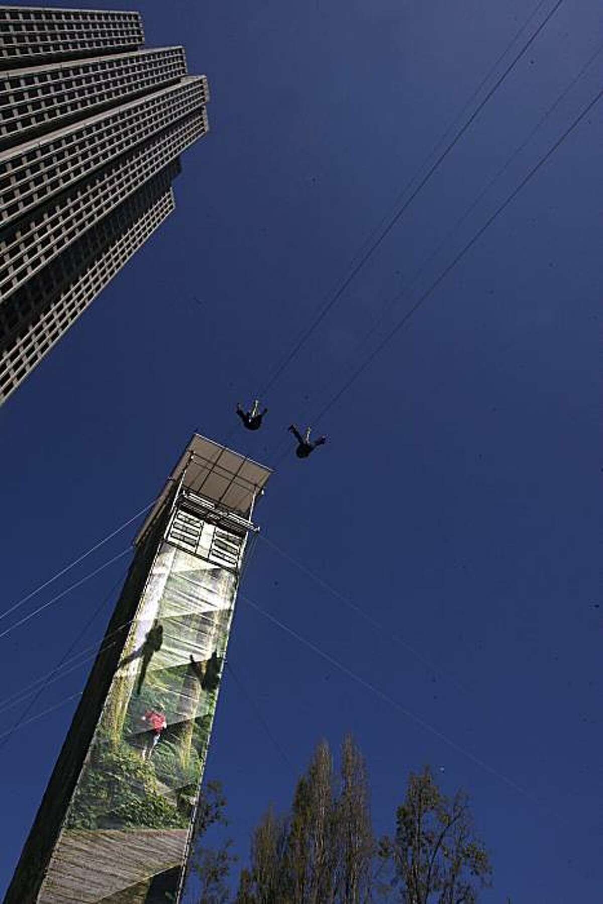 A view of the zipline ride at Justin Herman Plaza in San Francisco, Calif., on Thursday, April 8, 2010. An eleven day event called