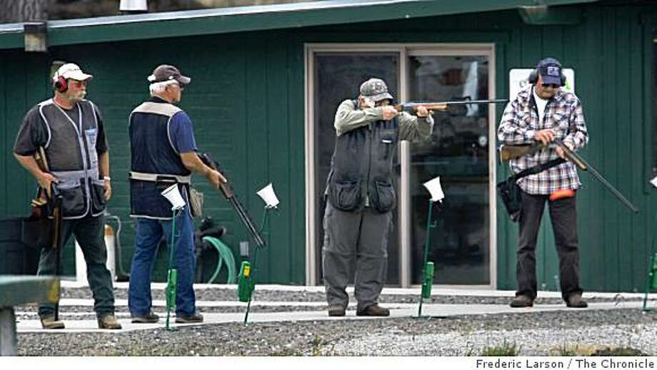 A group of men (no names given) shoot at the Petaluma Trap and Skeet Club on September 14, 2008 which has used lead shot on their range. Photo: Frederic Larson, The Chronicle