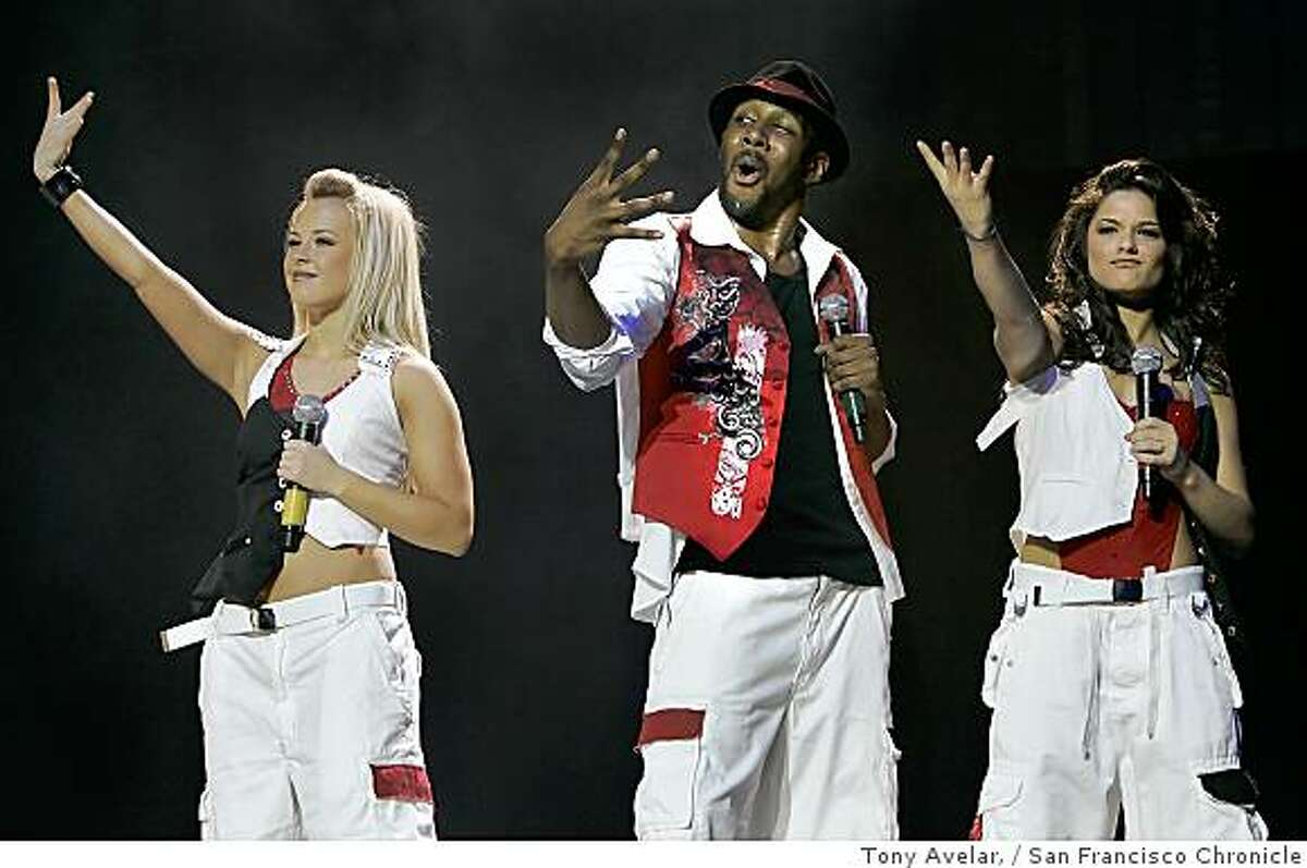 Chelsie Kay Hightower, left, Stephen (Twitch)Boss, center, and Courtney Galiano, right, from the popular FOX reality series So You Think You Can Dance perform during the tour performance at HP Pavilion in San Jose, Calif., on Thursday, Sept. 25, 2008.