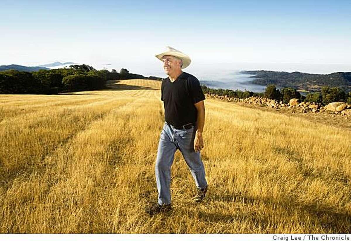 Winemaker John Kongsgaard in his new vineyard site in the Atlas Peak area in Napa, Calif., on September 12, 2008