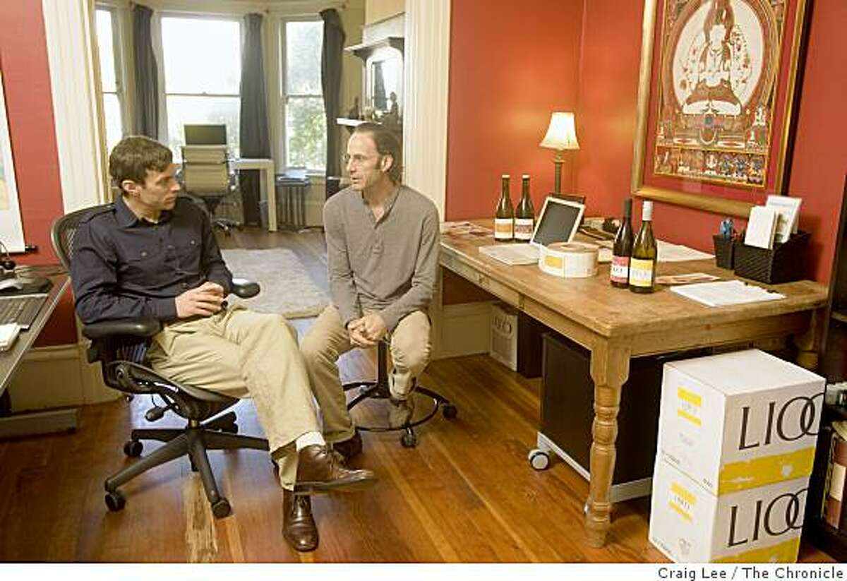 """Matt Licklider (left) and Kevin O'Connor (right), partners in a winery called Lioco, operated as a """"virtual"""" winery out of Matt's apartment in San Francisco, Calif., on September 15, 2008. Kevin O'Connor is the wine director for Spago in Beverly Hills, California."""