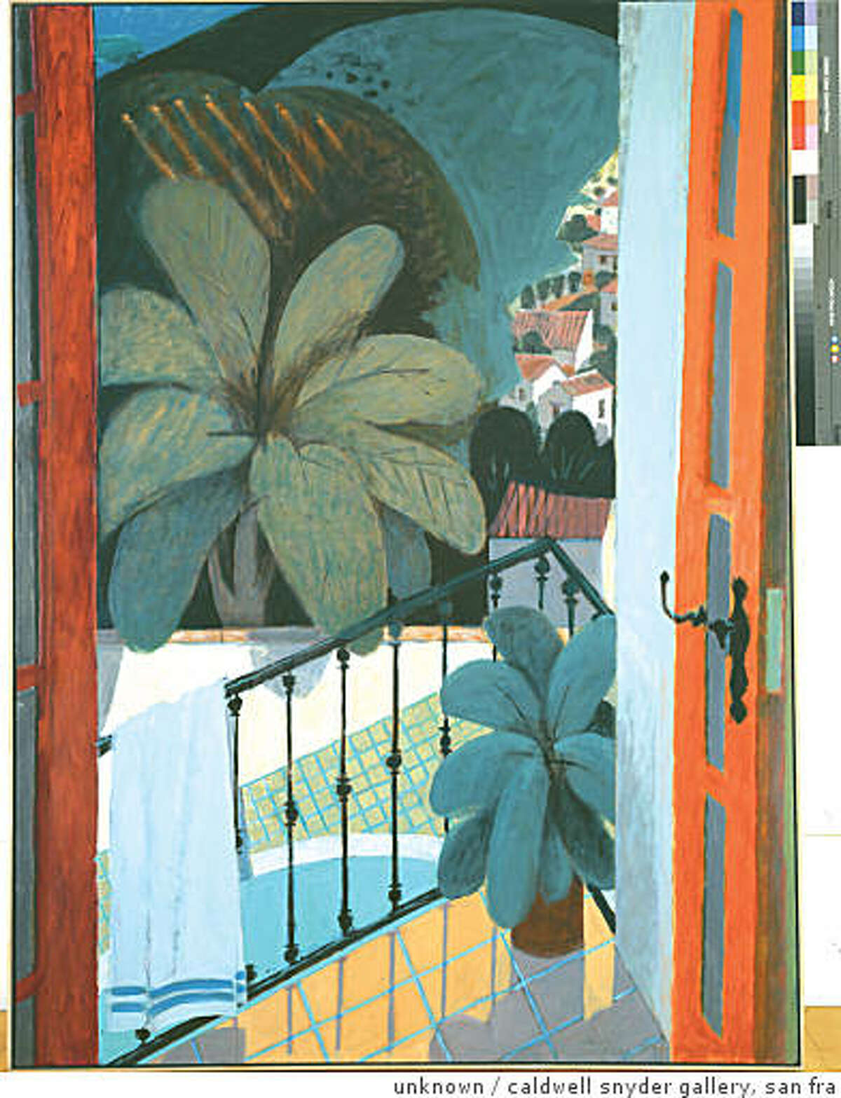 """""""Balcony Over the Pool, Spain"""" (no date) oil on canvas by Curtis Fields (5/24/1921-9/17/2008)"""