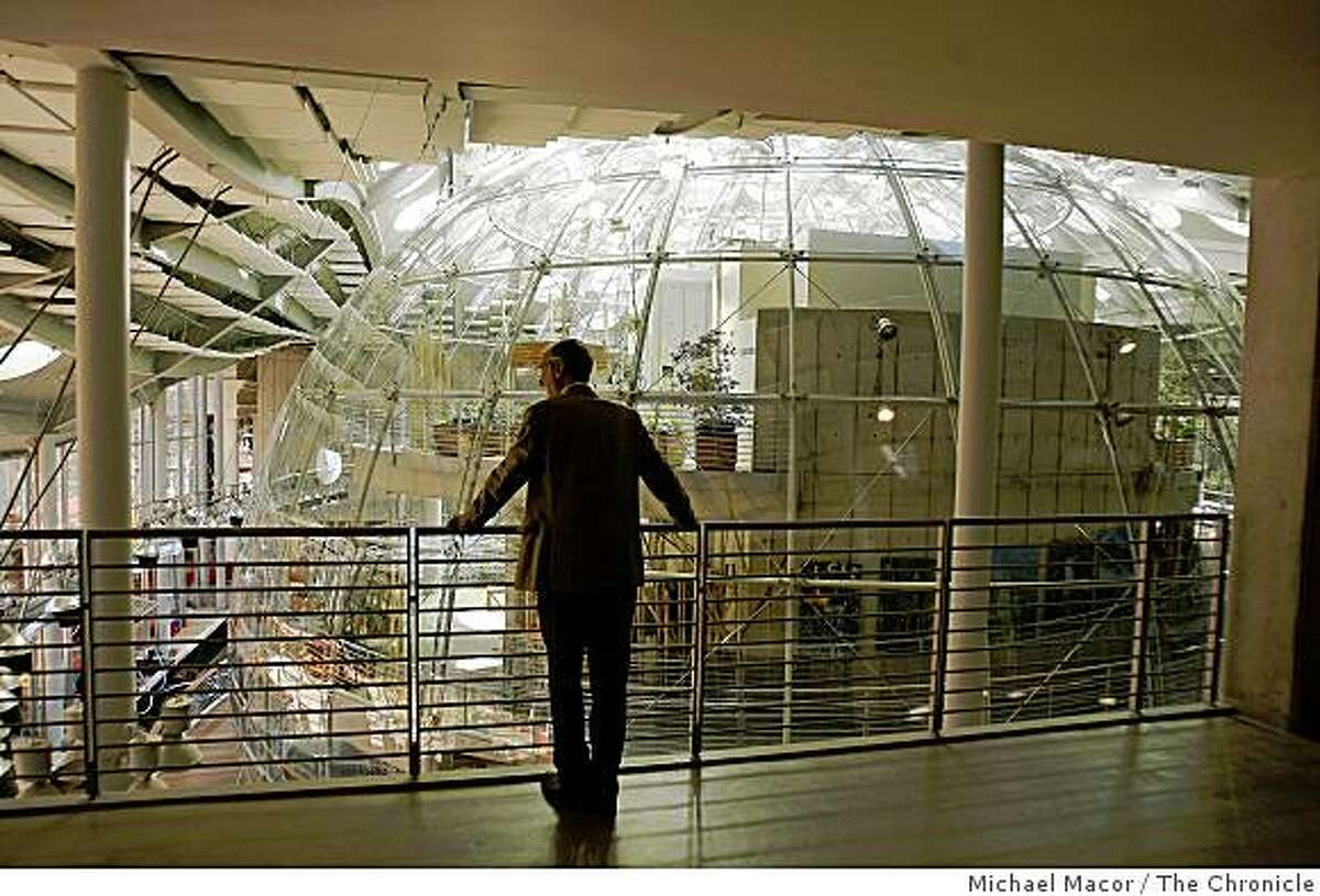 Renzo Piano looks out over the Rainforest Dome, a centerpiece at the new Academy of Sciences.