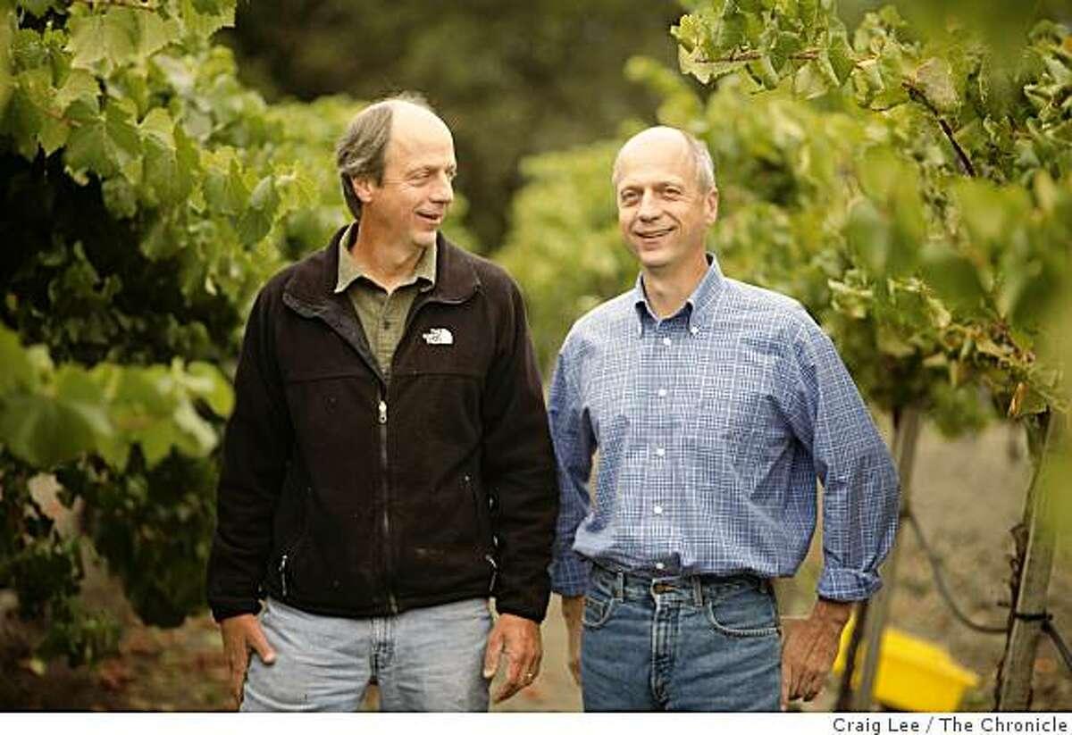 Varner Wines, Bob Varner (left) and his twin brother, Jim Varner (right) at Spring Ridge Vineyards in Portola Valley, Calif., on September 10, 2008.