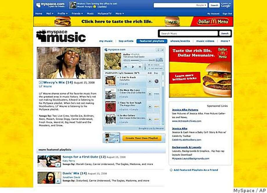 This is an undated screen grab showing the new MySpace music page. In a bid to spruce up its popular online hangout, MySpace plans to flip the switch Thursday, Sept. 25, 2008, on a much-anticipated service that will give its roughly 120 million users free access to hundreds of thousands of songs from the world's largest recording labels.  (AP Photo/MySpace) Photo: MySpace, AP