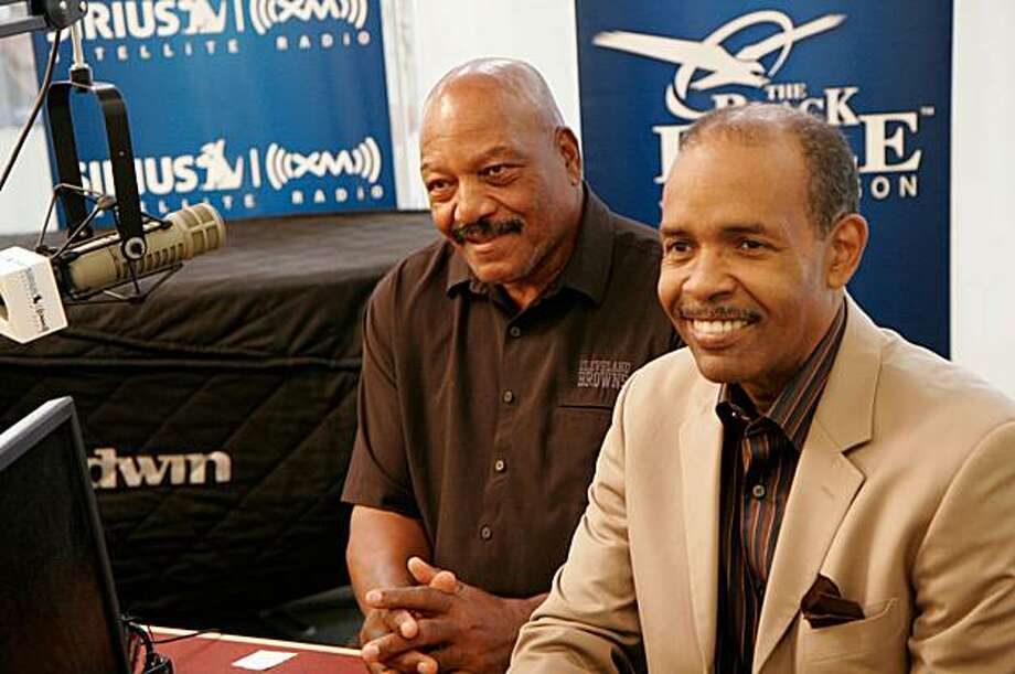 Football great Jim Brown with radio host Joe Madison at SIRIUS XM studios (PRNewsFoto/SIRIUS XM Radio, Maro Hagopian) Photo: Maro Hagopian, PR Newswire