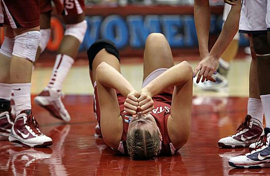 SAN ANTONIO - APRIL 06:  Center Jayne Appel #2 of the Stanford Cardinal falls on the floor against the Connecticut Huskies during the NCAA Women's Final Four Championship game at the Alamodome on April 6, 2010 in San Antonio, Texas. Photo: Ronald Martinez, Getty Images