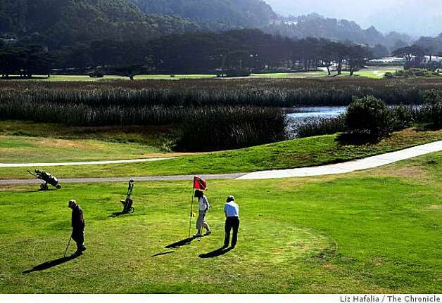 Sharp Park Golf Course showing Salada Beach in Pacifica Calif., on Monday, September 22, 2008.  Environmentalists are upset over the killing of two endangered species--red legged frog, and garter snake-- at Sharp Park Golf Course. Photo: Liz Hafalia, The Chronicle