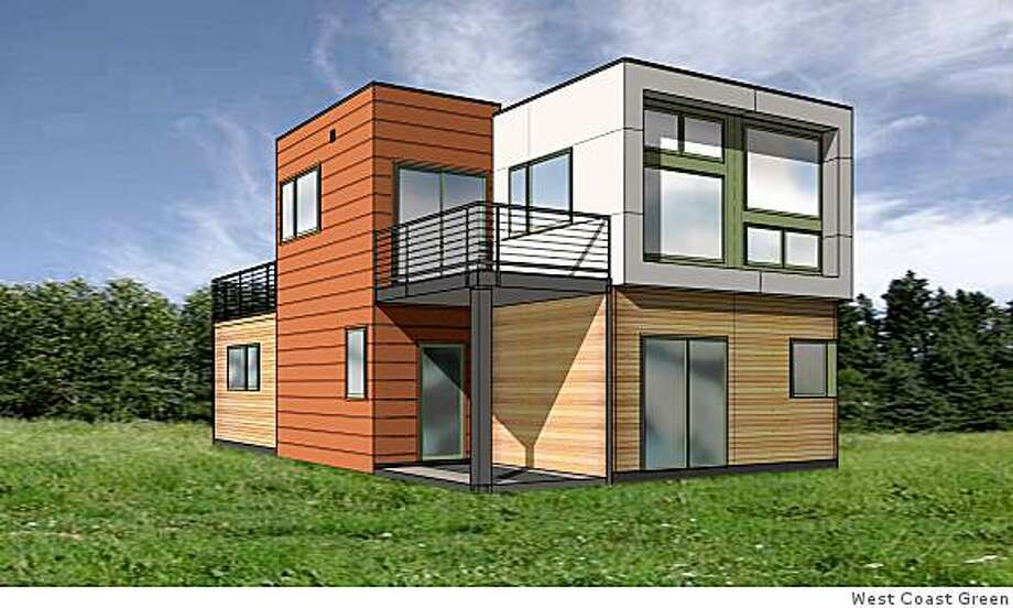 Computer-generated view of the front of the showhouse made from 40-foot shipping containers that will be on view at this week's West Coast Green in San Jose. Photo: West Coast Green