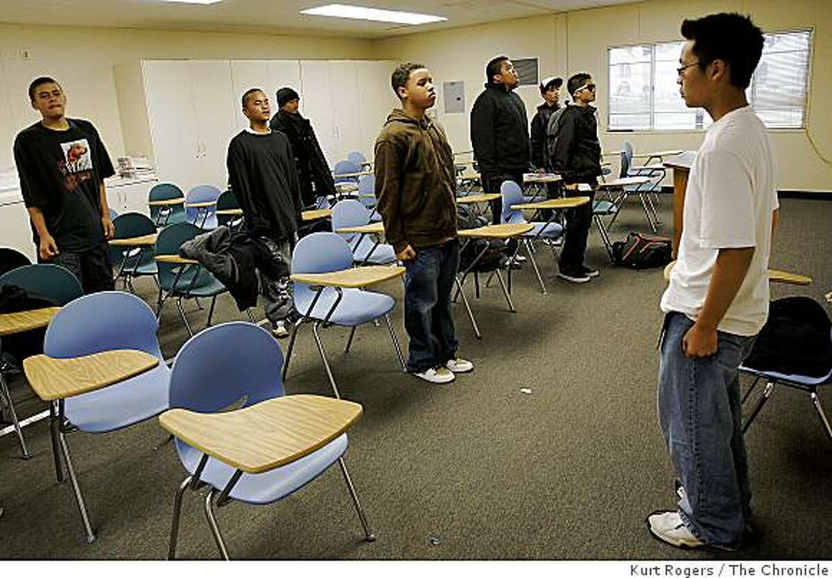 Alvin Lam (Right) brings his JROTC class to attention in order to dismiss them for their next class. on Wednesday, Sept, 17 2008 in San Francisco , Calif