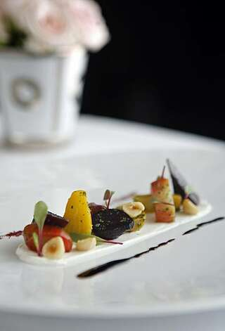 Picture of the roasted beet salad, a dish from chef Gregory Short's vegetable menu at Masa's restaurant in San Francisco, Calif., on Wednesday, May 20, 2009. Photo: Hardy Wilson, The Chronicle
