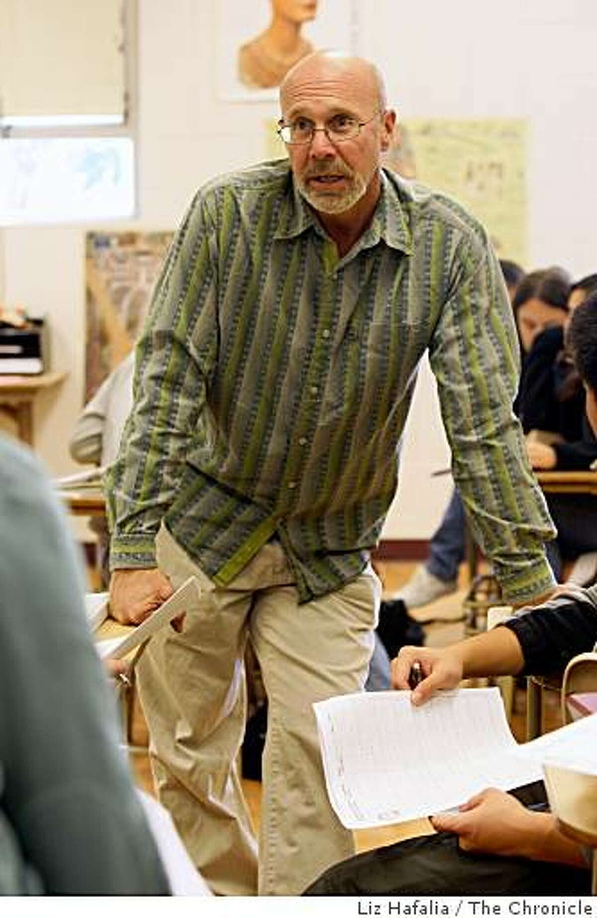 Lowell High school teacher Richard Girling instructing a senior class in American Democracy in San Francisco, Calif., on Tuesday, September 9, 2008. Four years ago he was riding his bicycle home from work near Lake Merced when he was run over by a Municipal Railway bus.