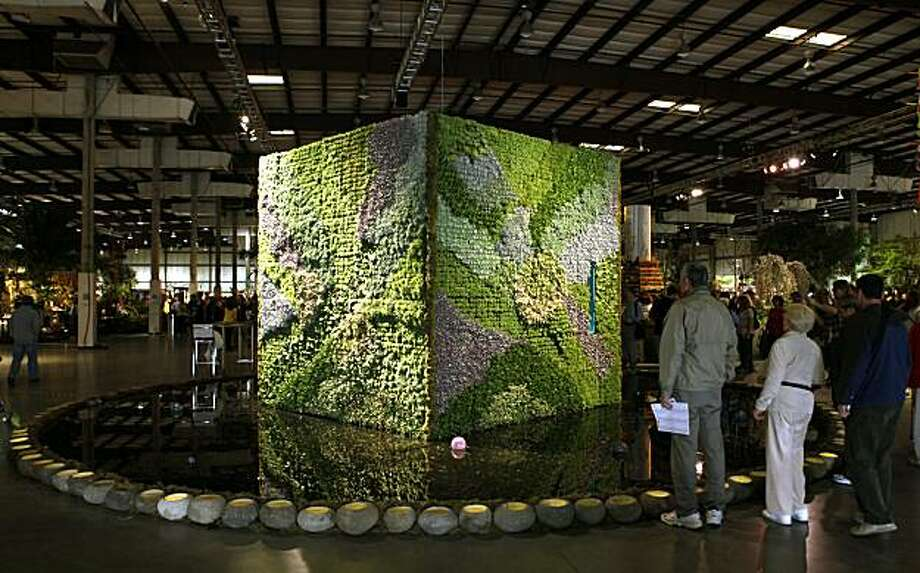 One of many spectacular displays at the years 25th annual San Francisco Flower & Garden show was the Living Room, by Organic Mechanics from San Francisco designers Sean Stout and James Pettigrew. Lines were long to go inside this vertical garden Saturday March 27, 2010 Photo: Lance Iversen, The Chronicle
