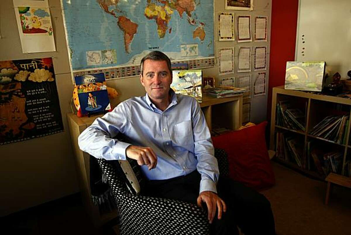 John Wood, founder of Room to Read--an organization which builds and stocks libraries in third world countries--in a children's reading room at his San Francisco office on Monday, February 8, 2010. Wood is leaving soon to open his 10,000th library in Nepal.