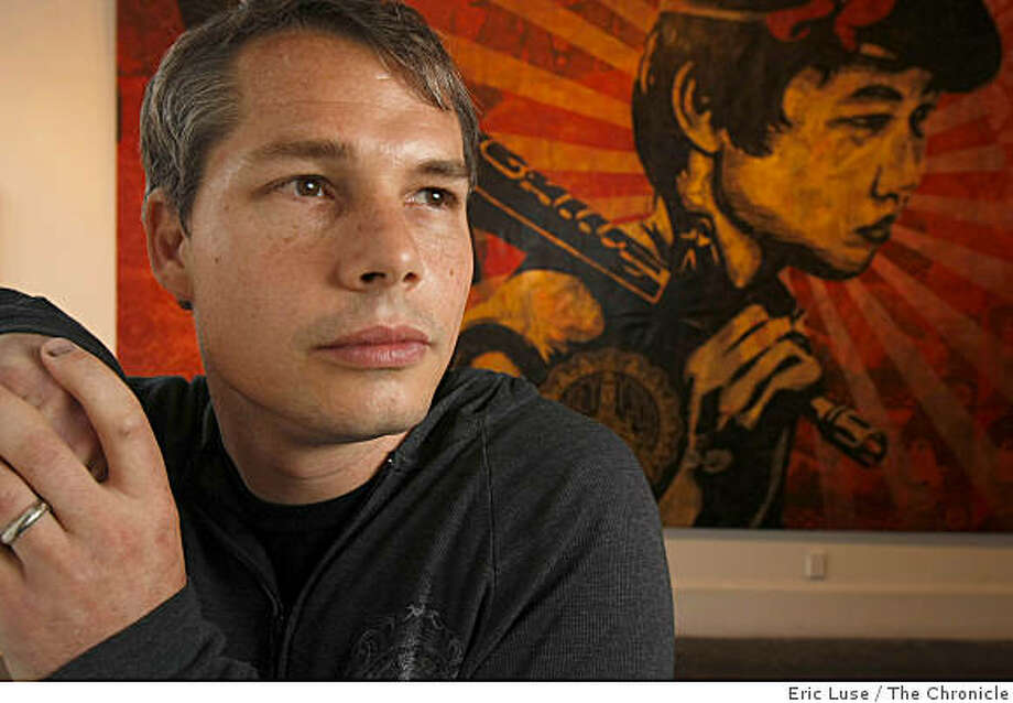 Artist Shepard Fairey  at his exhibit The Duality of Humanity with one mural piece from the show in  San Francisco photographed on Thursday, September 11, 2008. Photo: Eric Luse, The Chronicle