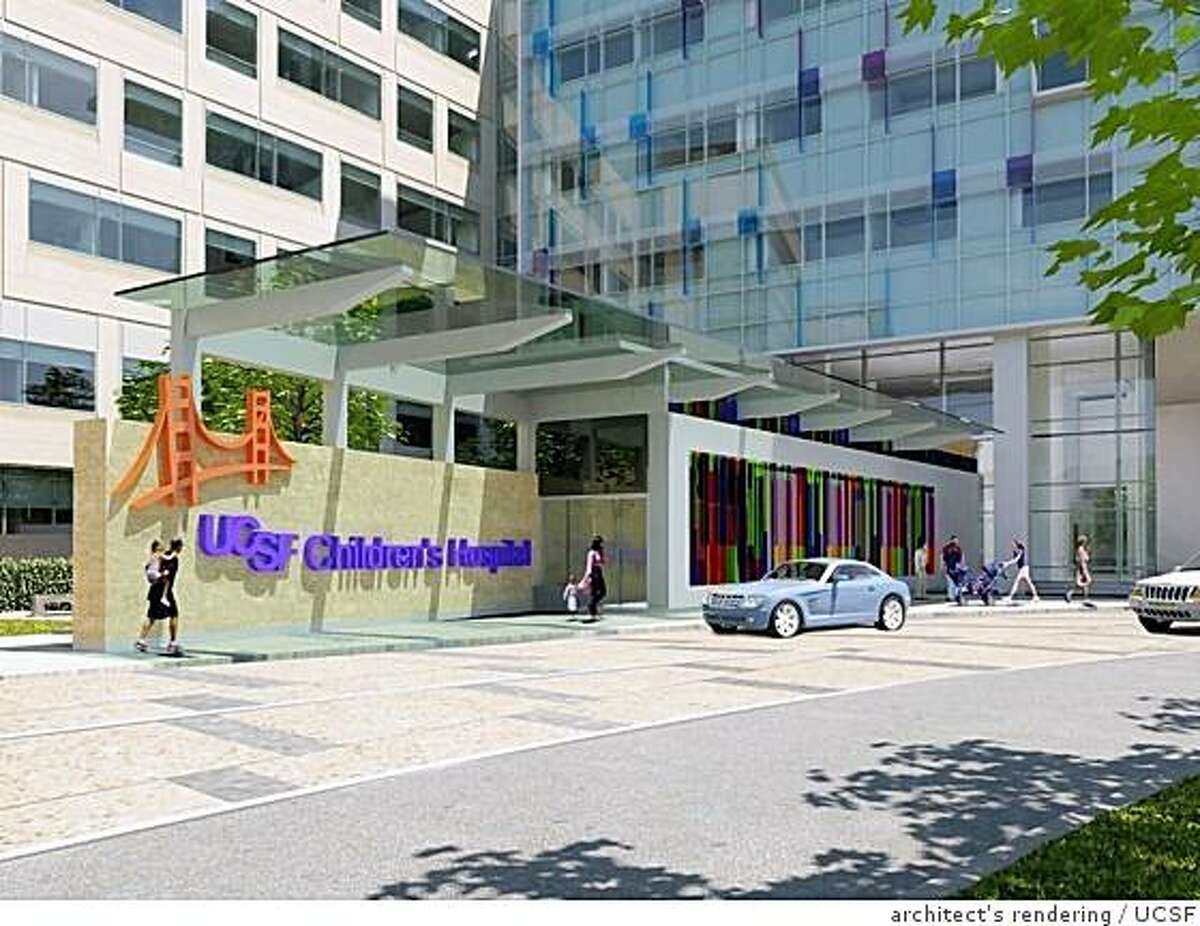 An architect's drawing of the proposed new Children's Hospital at the Mission Bay campus of UCSF. Regents voted Sept. 18, 2008, on approving funds.