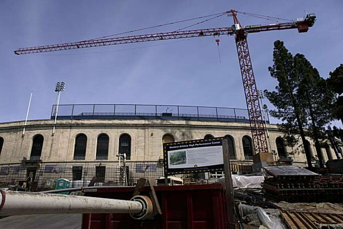 Construction is still under way at the Student Athlete High Performance Center, Sunday March 29, 2010, in Berkeley, Calif. The site next to Cal's Memorial Stadium has been a controversial subject for the last few years with students protest.
