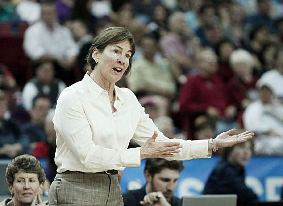 Stanfords women's head coach Tara VanDerveer gives instructions during the second half of Stanford's 73-36 win over Georgia in an NCAA Sacramento Regional semifinal college basketball game in Sacramento, Calif., Saturday, March 27, 2010. .