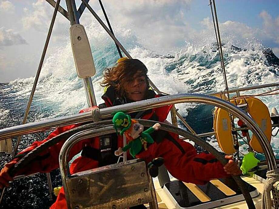Seas pile up around the Clipper race boats, seen here aboard Canadian entry Cape Breton Island with Carol Reed at the helm, following a post-St. Patrick Day Pacific storm that dismasted California. Photo: Clipper Ventures