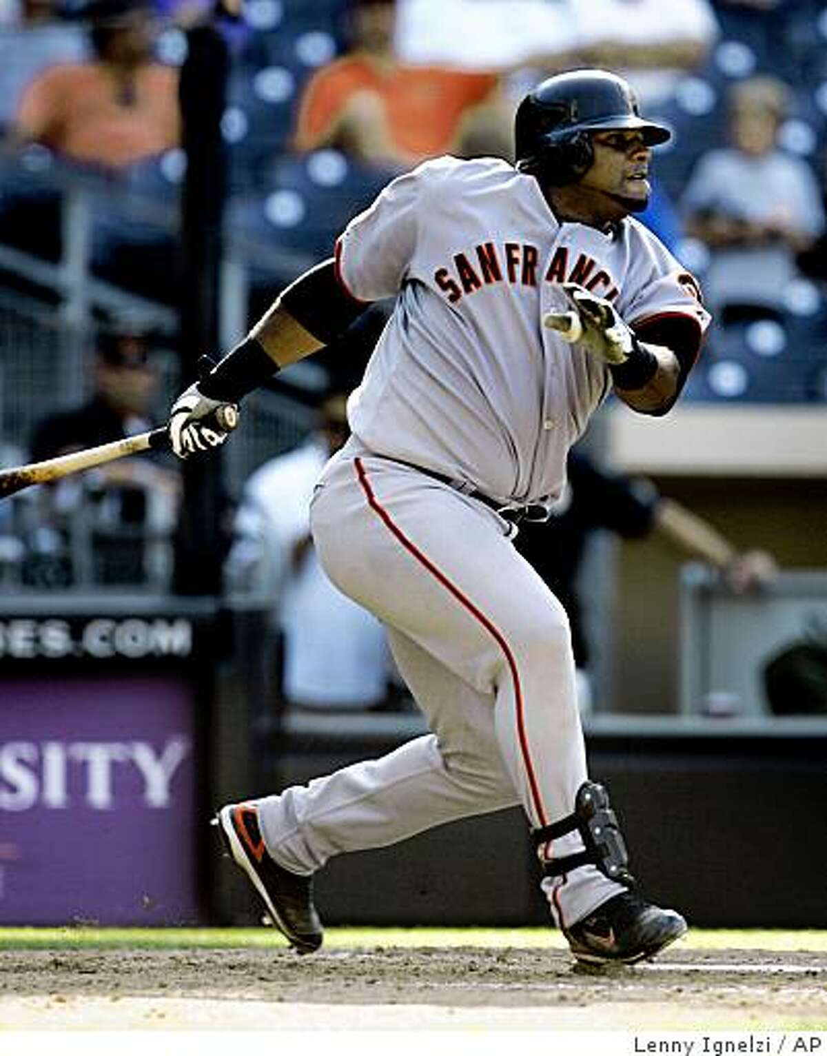 Pablo Sandoval leads off the tenth inning with a double, that eventually led to the winning run, against the San Diego Padres in the Giants' 8-6 victory in their baseball game Sunday, Sept. 14. 2008, in San Diego.