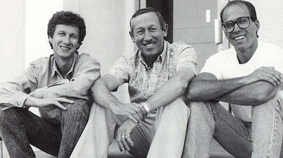 "In this publicity image released by Disney, from left, Peter Schneider, Roy Disney and Jeffrey Katzenberg take a break from a story retreat in in a photo from the documentary, ""Waking Sleeping Beauty."" Photo: AP"